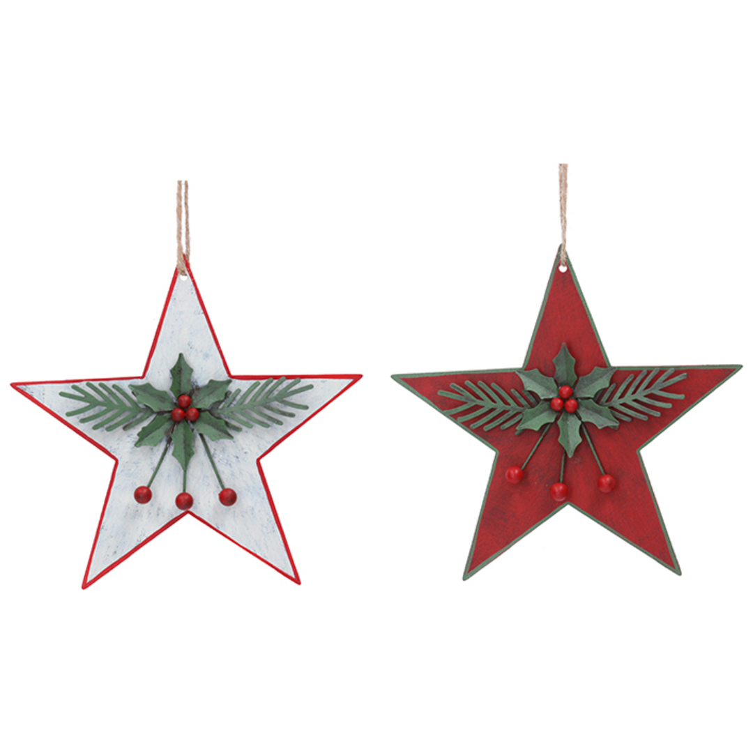 Tin Star with Holly 16cm image 0