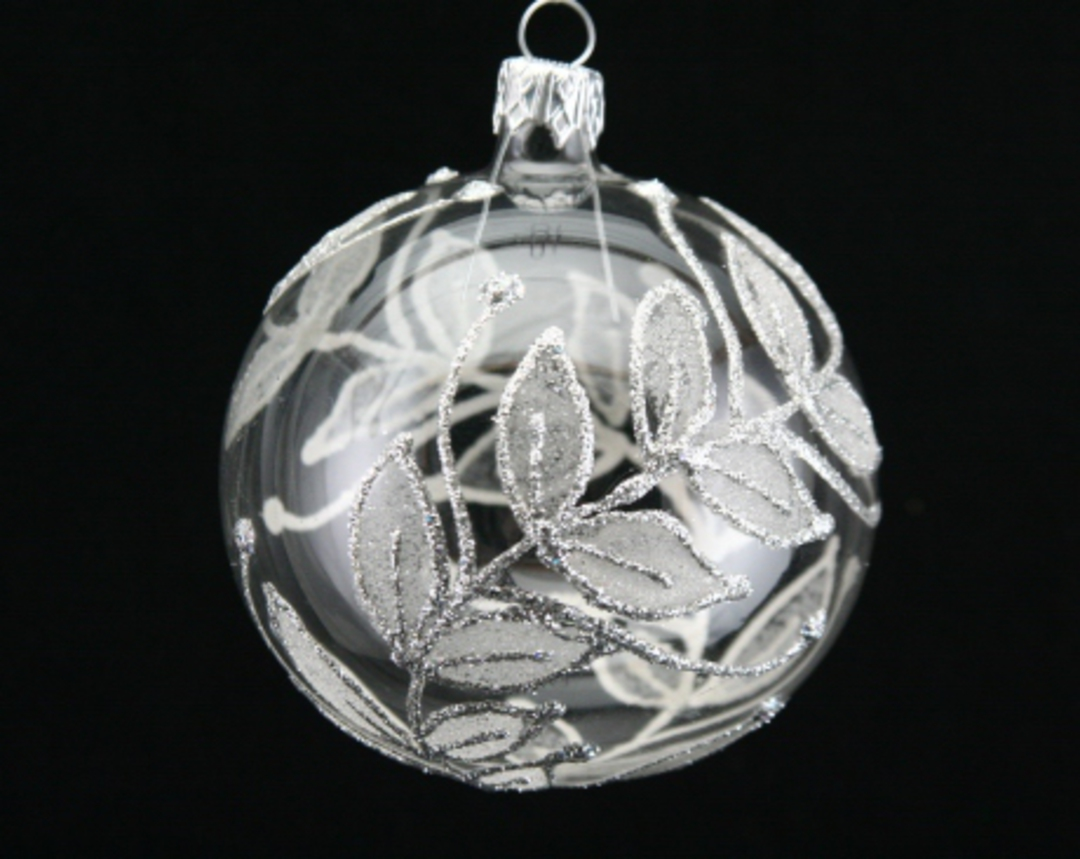 Glass Ball Clear, Silver Leaves 8cm image 0