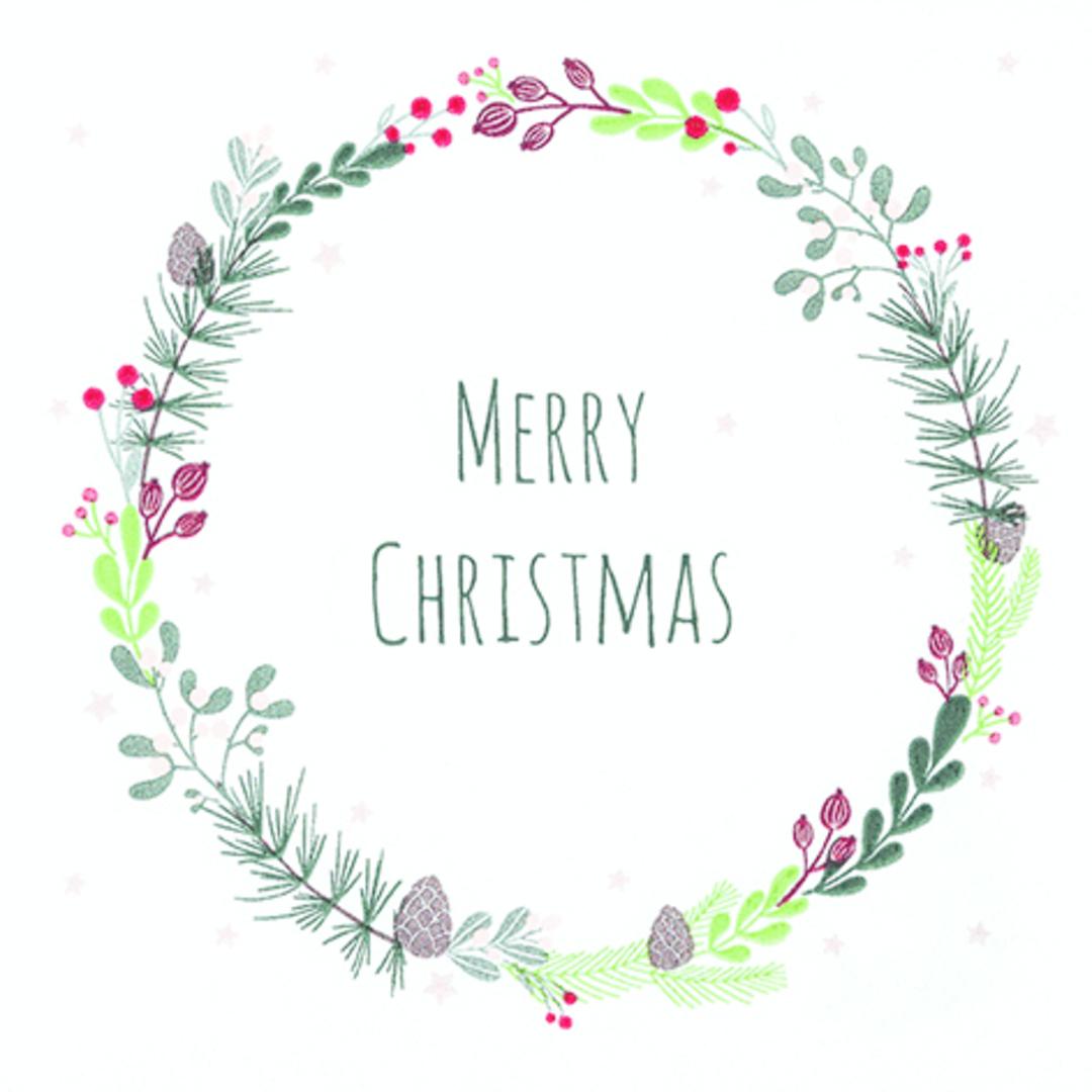 Paper Napkins 33cm, Merry Christmas Wreath image 0