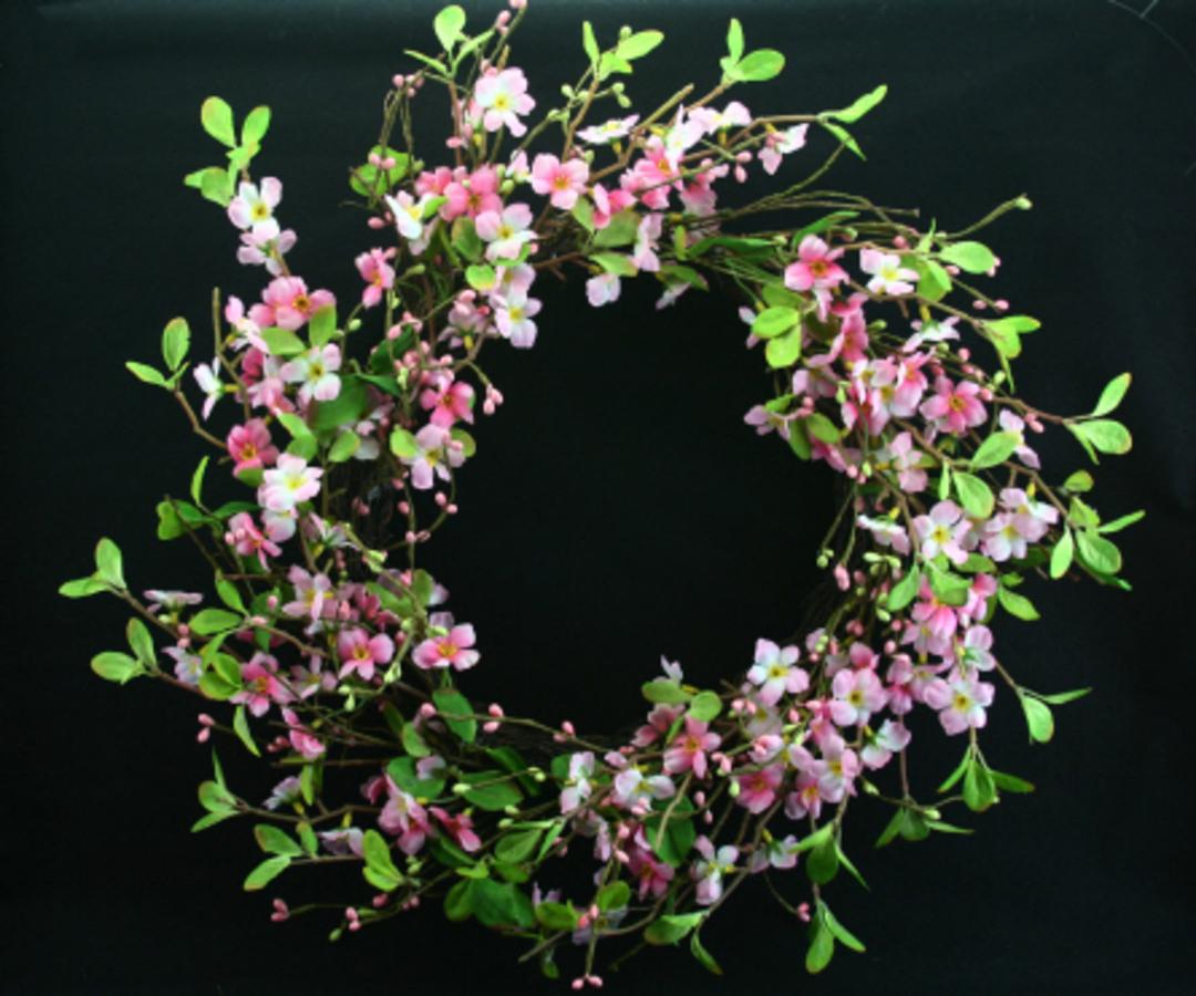 Pink Blossom Wreath 30cm image 0