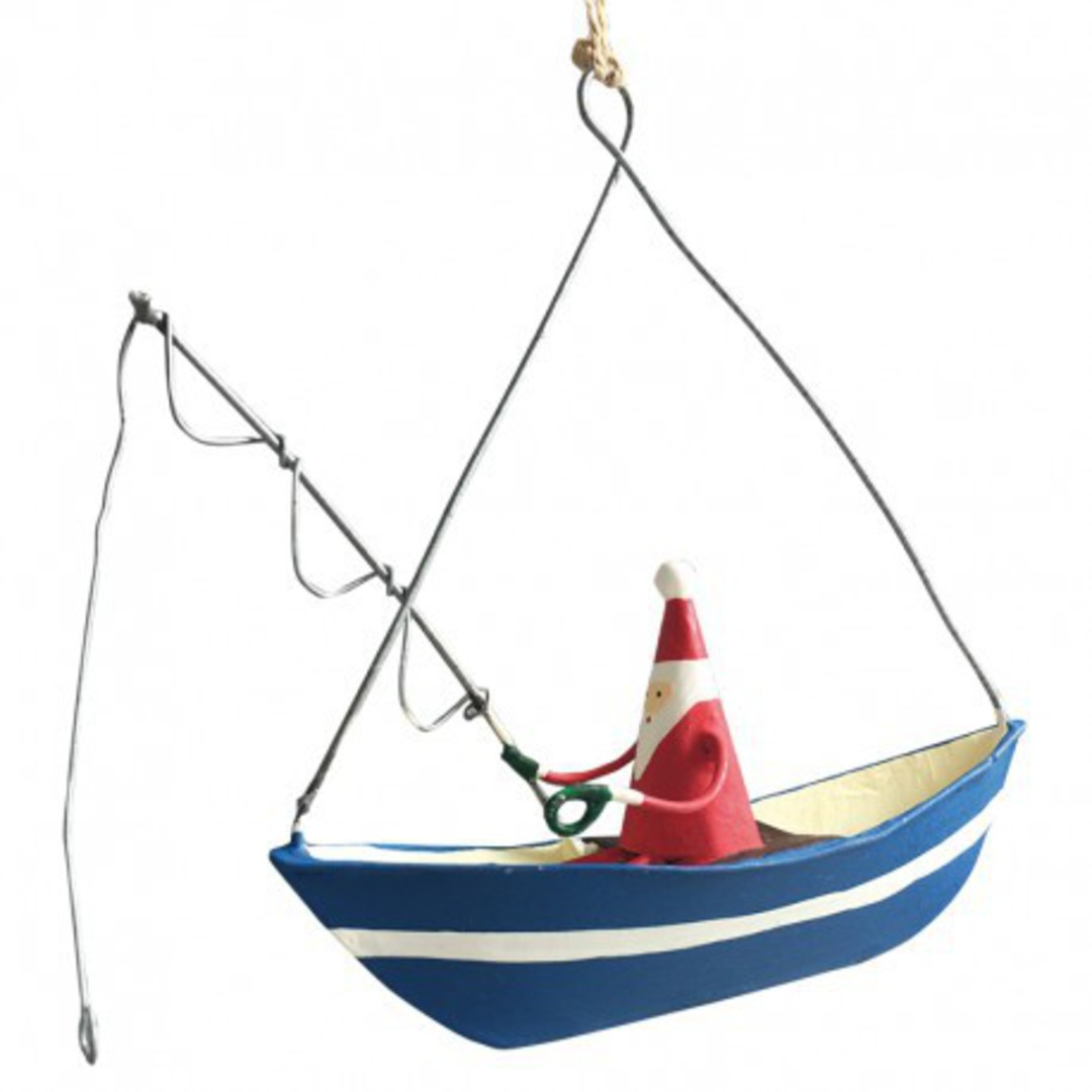 Tin Santa Fishing on Boat image 0