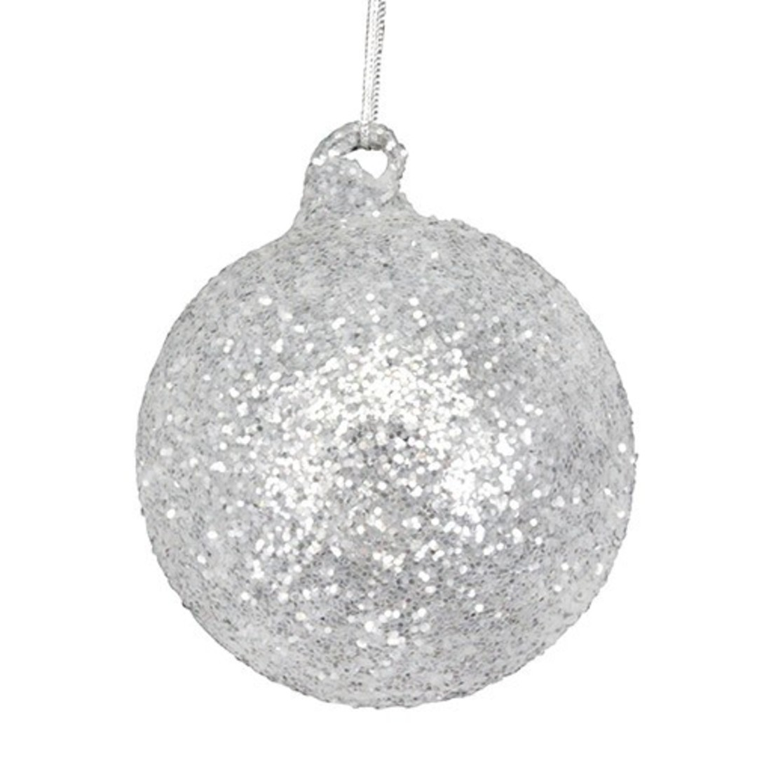 Glass Ball Silver, White Glitter 8cm image 0