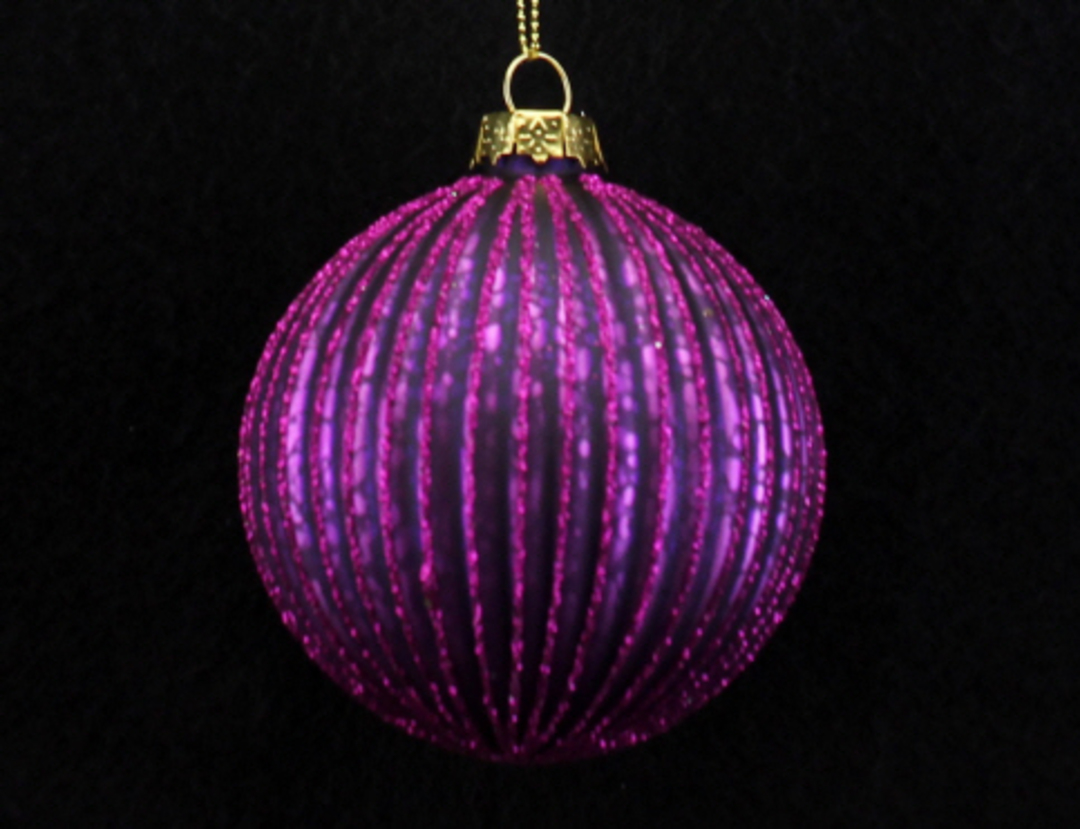 Glass Ball Fuchsia, Thin Rib 8cm image 0