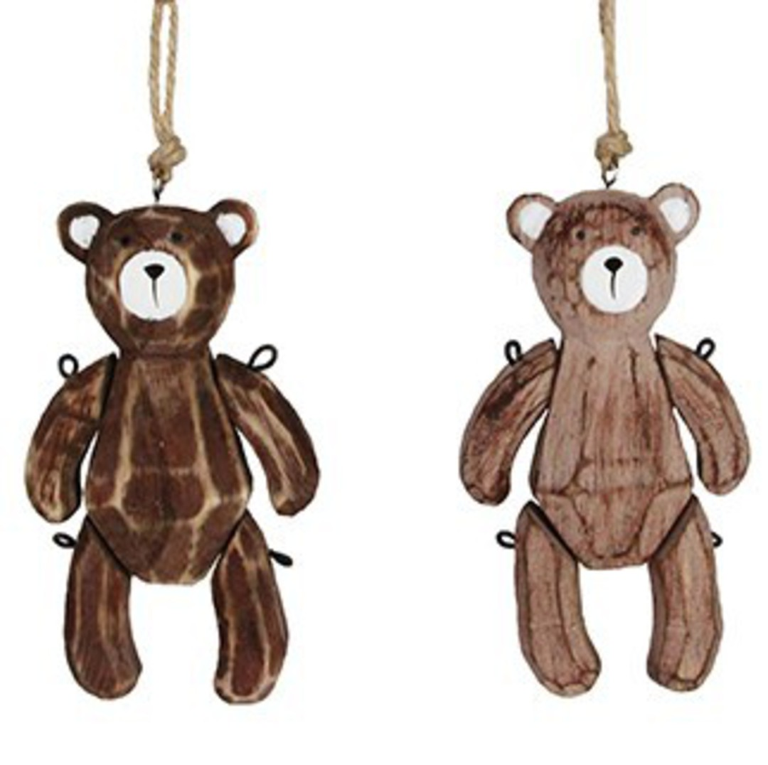 Natural Wood Jointed Teddy 11cm image 0
