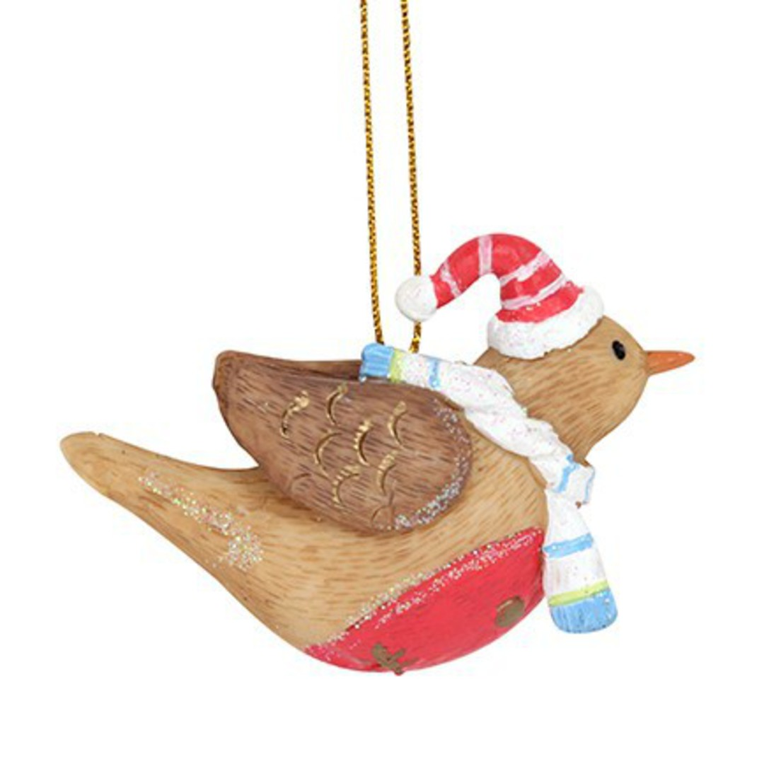 Resin Fun Winter Flying Robin 6cm image 0