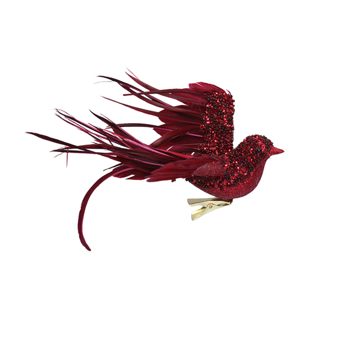 BirdClip Burgundy Glitter Feather Flying 22cm image 0