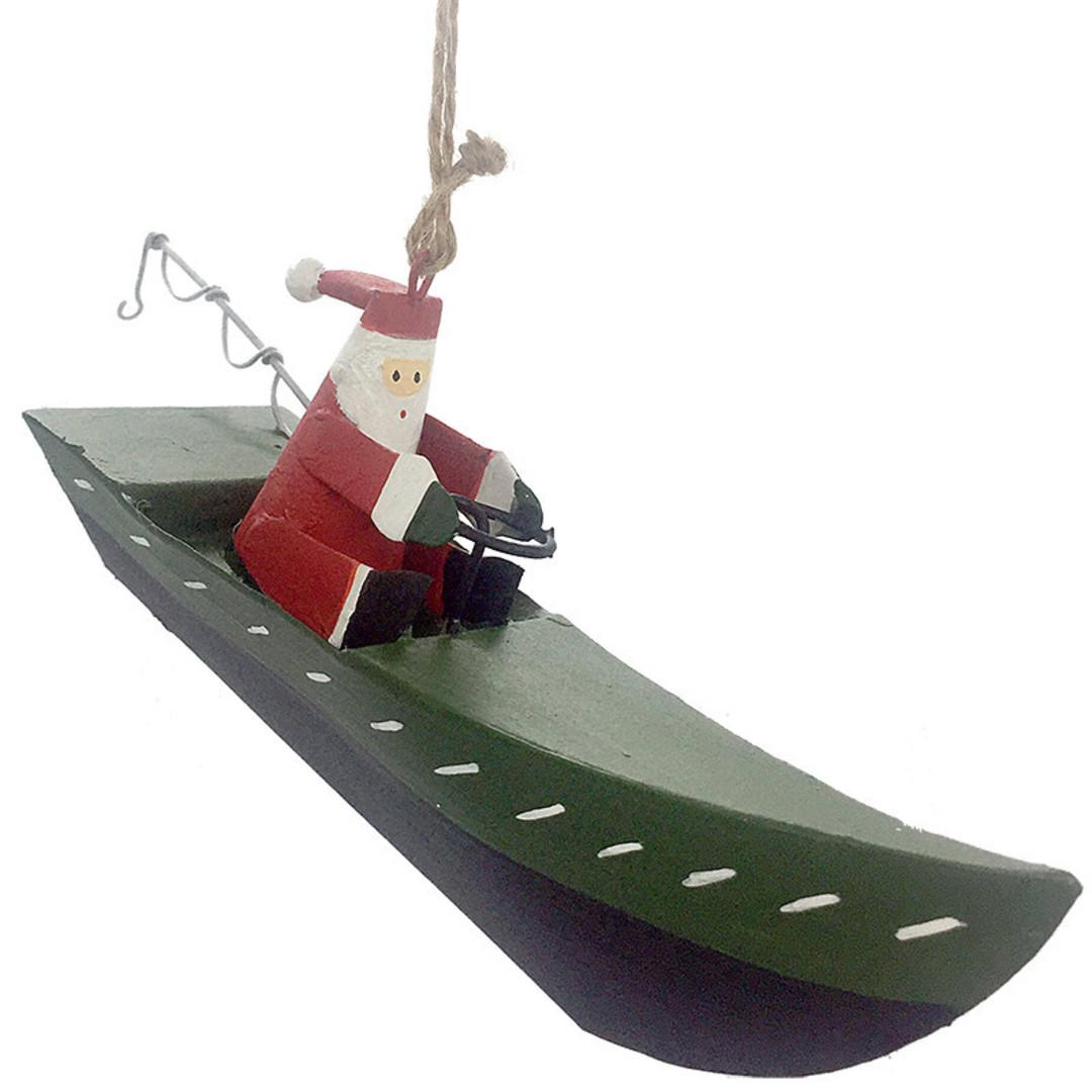 Tin Santa in Green Fishing Boat 12cm image 0
