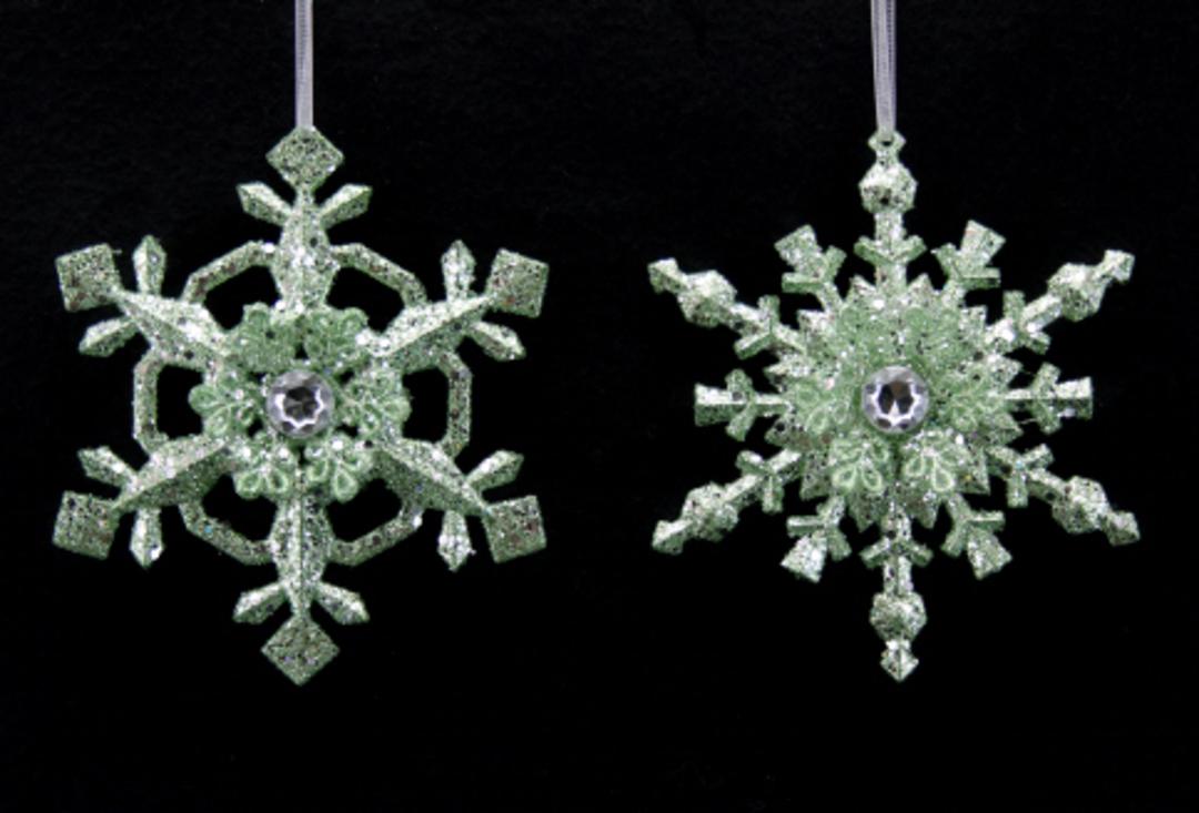 Acrylic Pale Green Glitter Snowflake image 0