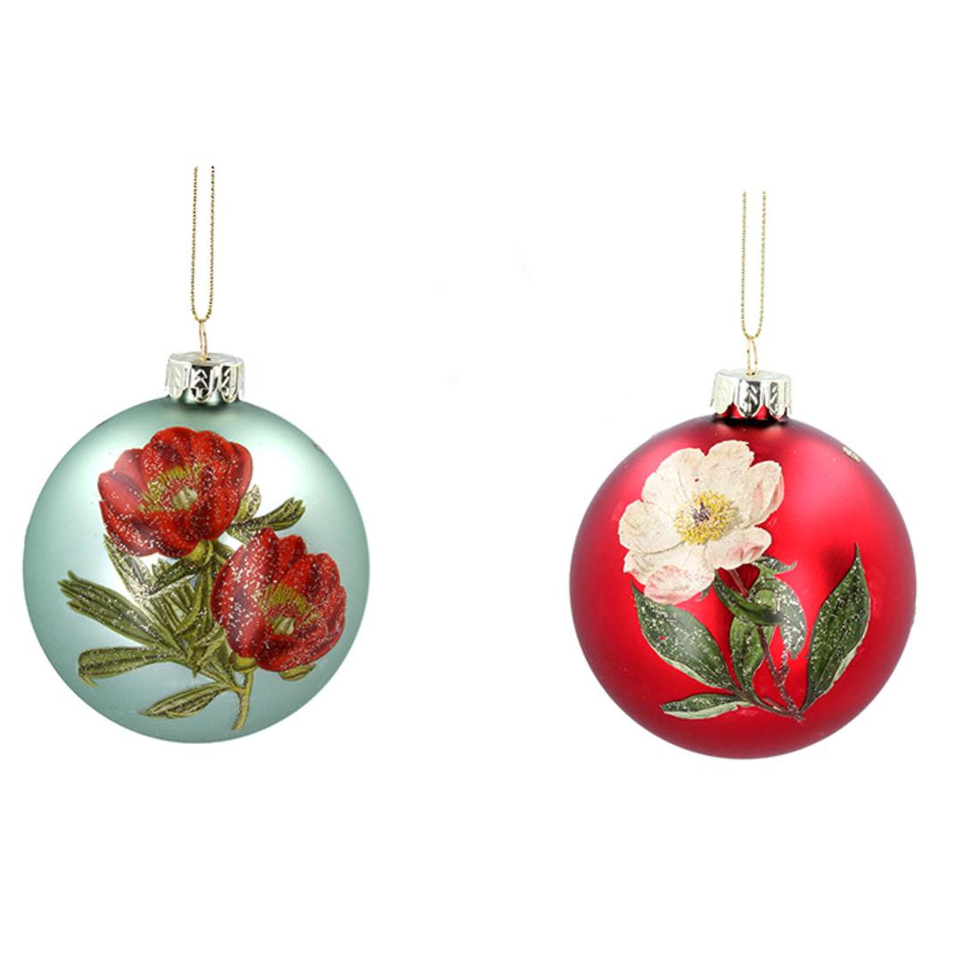 Glass Ball Matt Red or Green, Flower 8cm image 0