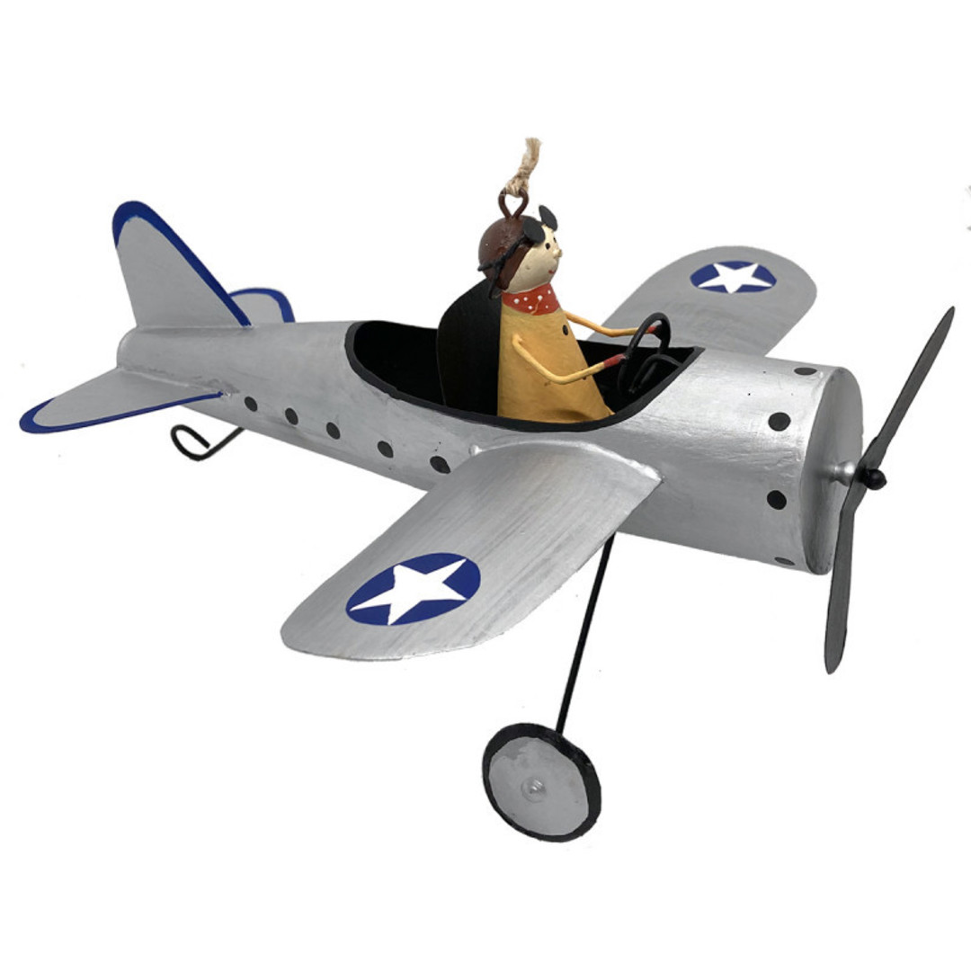 MAXI Tin Pilot in Silver War Plane 25cm image 0