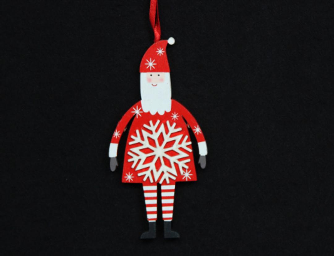 Wood Scandi Snowflake Santa Sml image 0