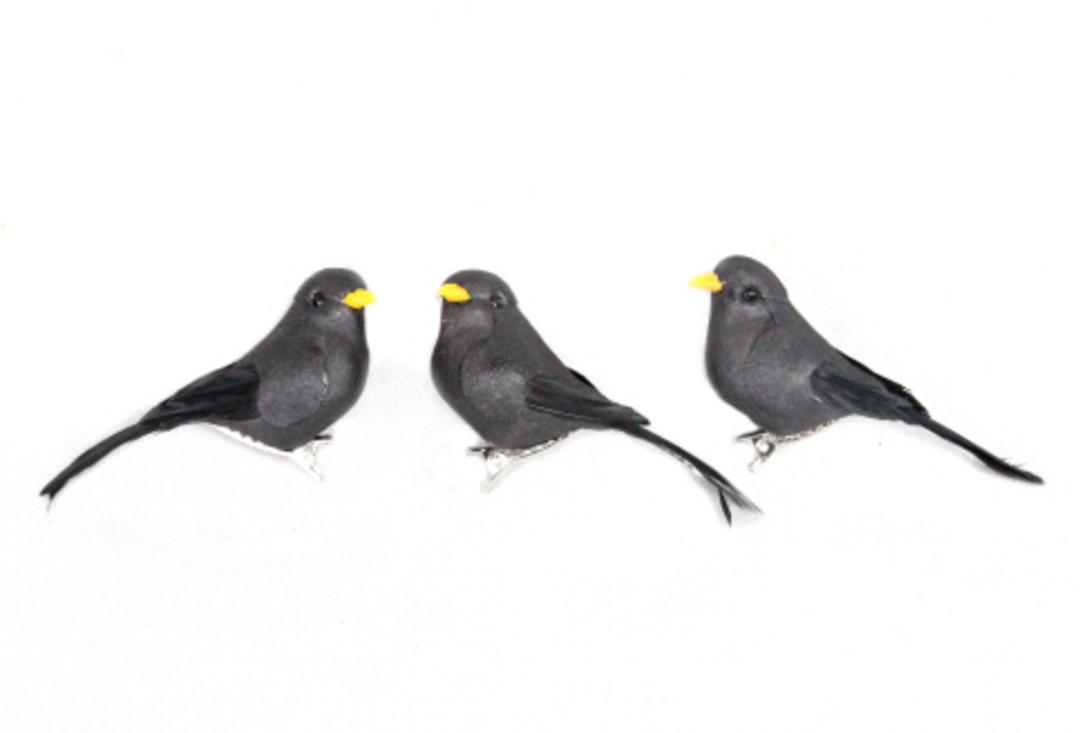 Black Feathered Bird Clip 8cm image 0