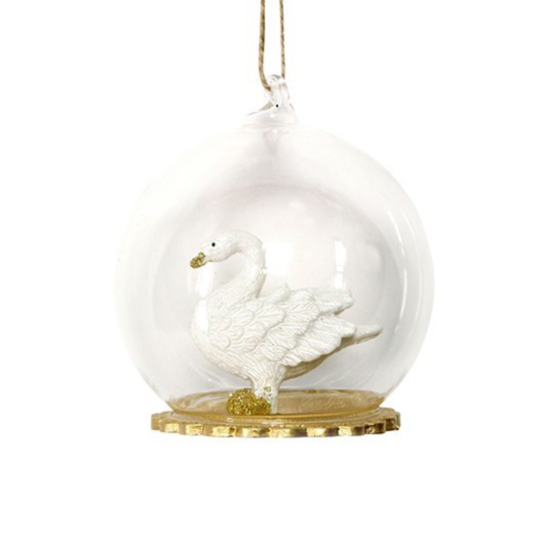 Glass Ball Clear, Resin Swan Inside 8cm image 0