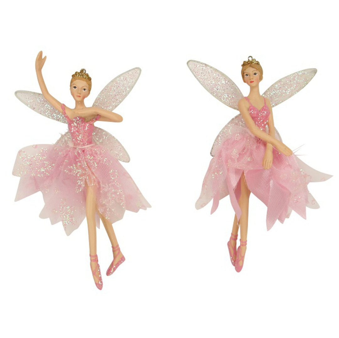 Hanging Resin Ballerina Fairy Pink Fabric image 0