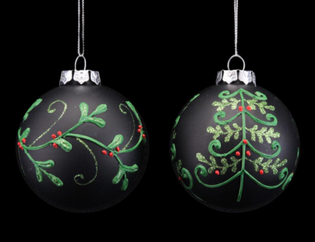 Glass Ball Black, Xmas Tree 8cm image 0