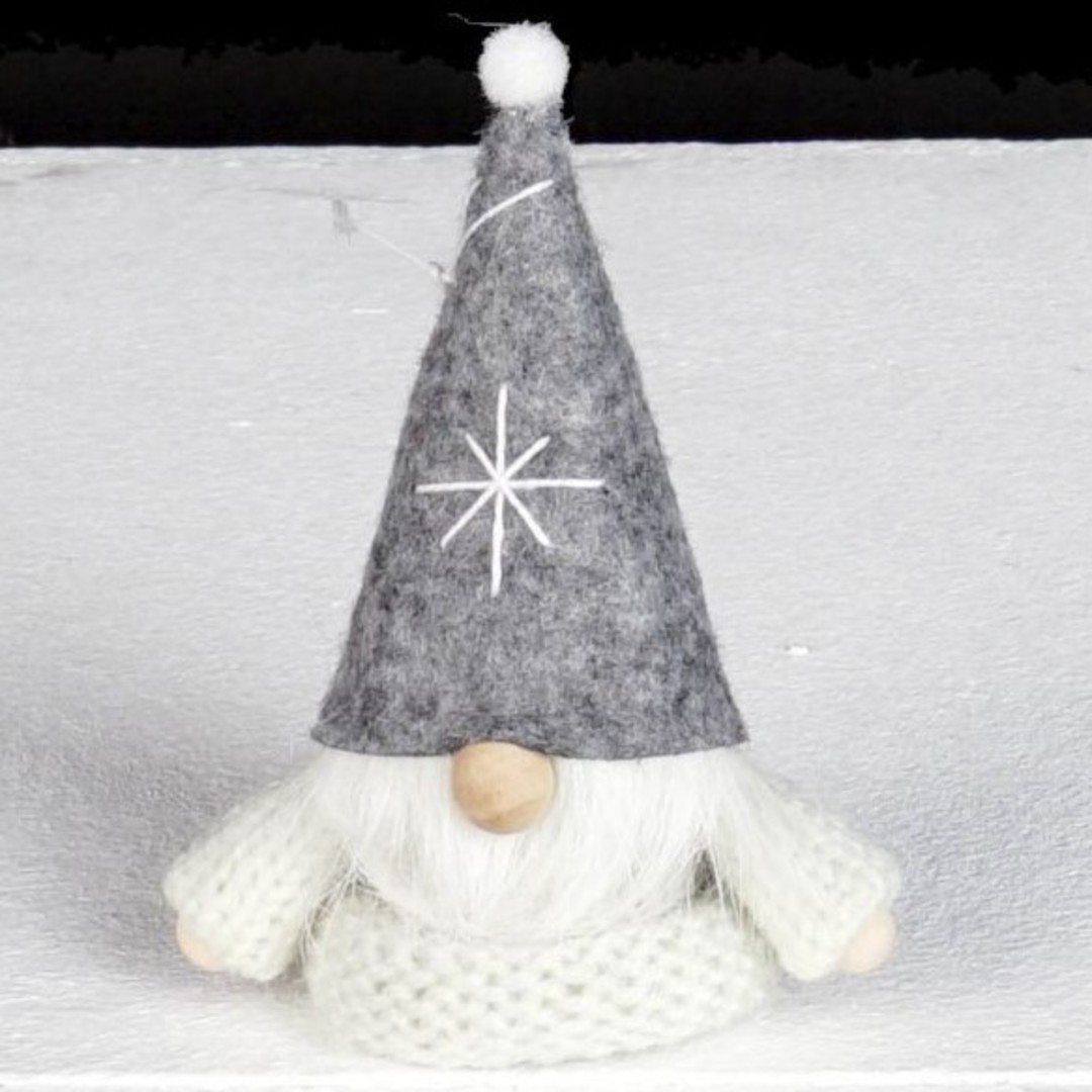 Santa, White Knit Jumper, Grey Hat image 0