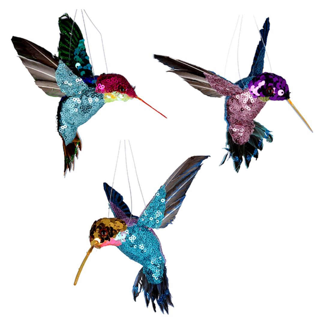 Multi Colour Sequin Humming Bird 15cm image 0