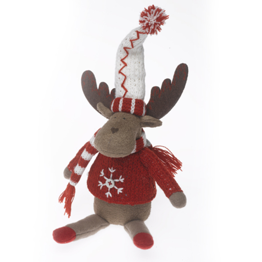 Plush Reindeer with Red Jumper & Red/White Hat & Scarf 23cm image 0
