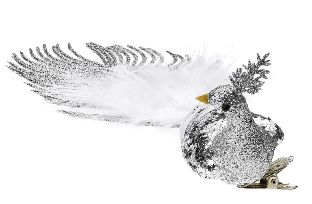 BirdClip Silver Glitter with White Feather Tail 21cm image 0