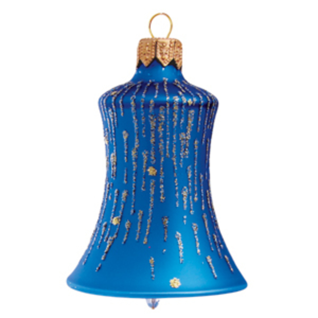 Glass Bell Matt Metallic Blue, Blue & Gold Stripes 8cm image 0