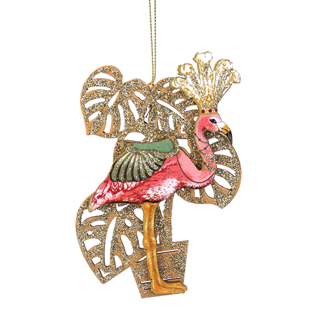 Wood Flamingo with Leaves 11cm image 0