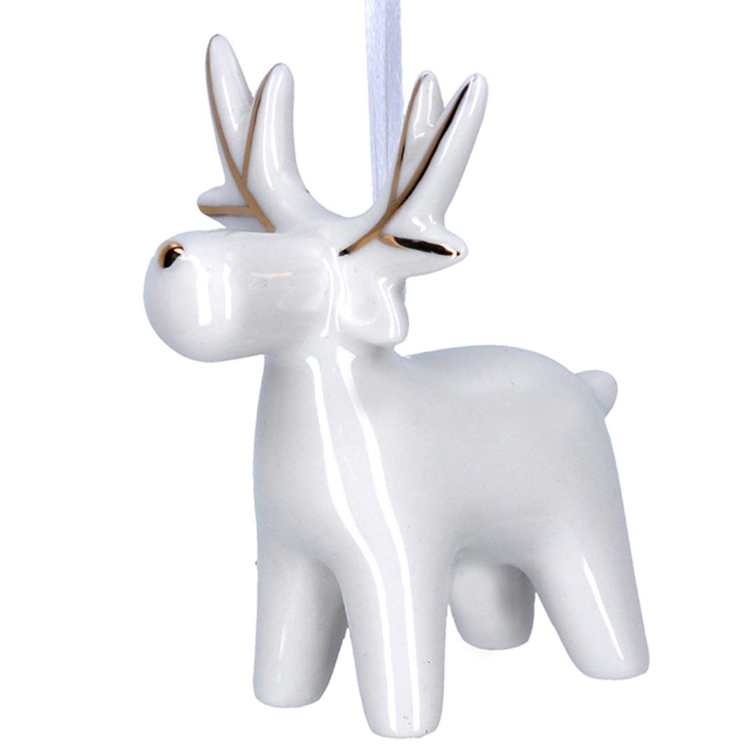 Ceramic White Gold Reindeer 7cm image 0