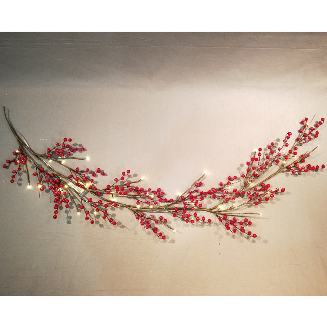 Red Berry Garland 1.8mtr, 36 LED Lights image 1