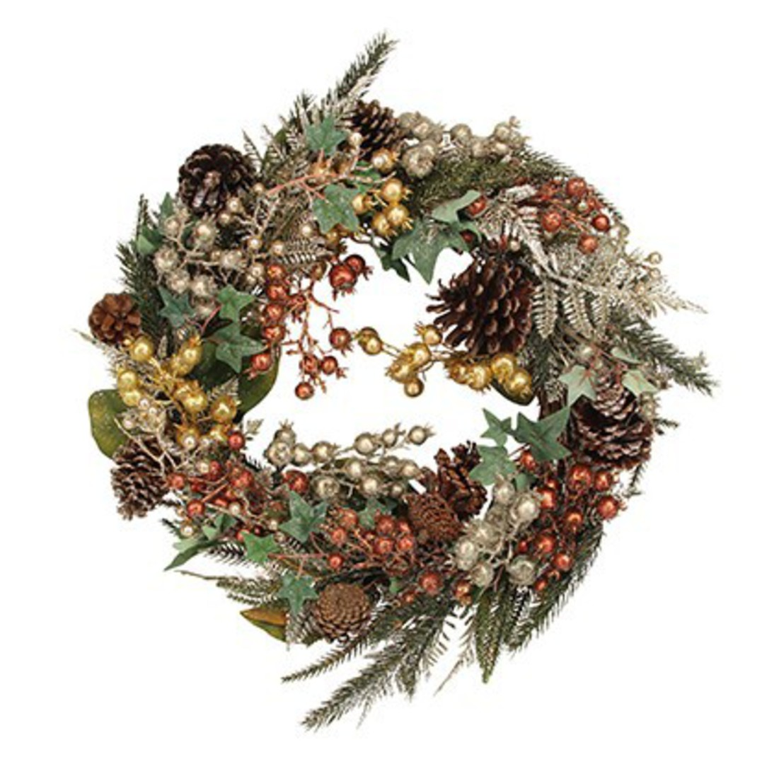 Gold and Berry Pinecone Wreath 50cm image 0