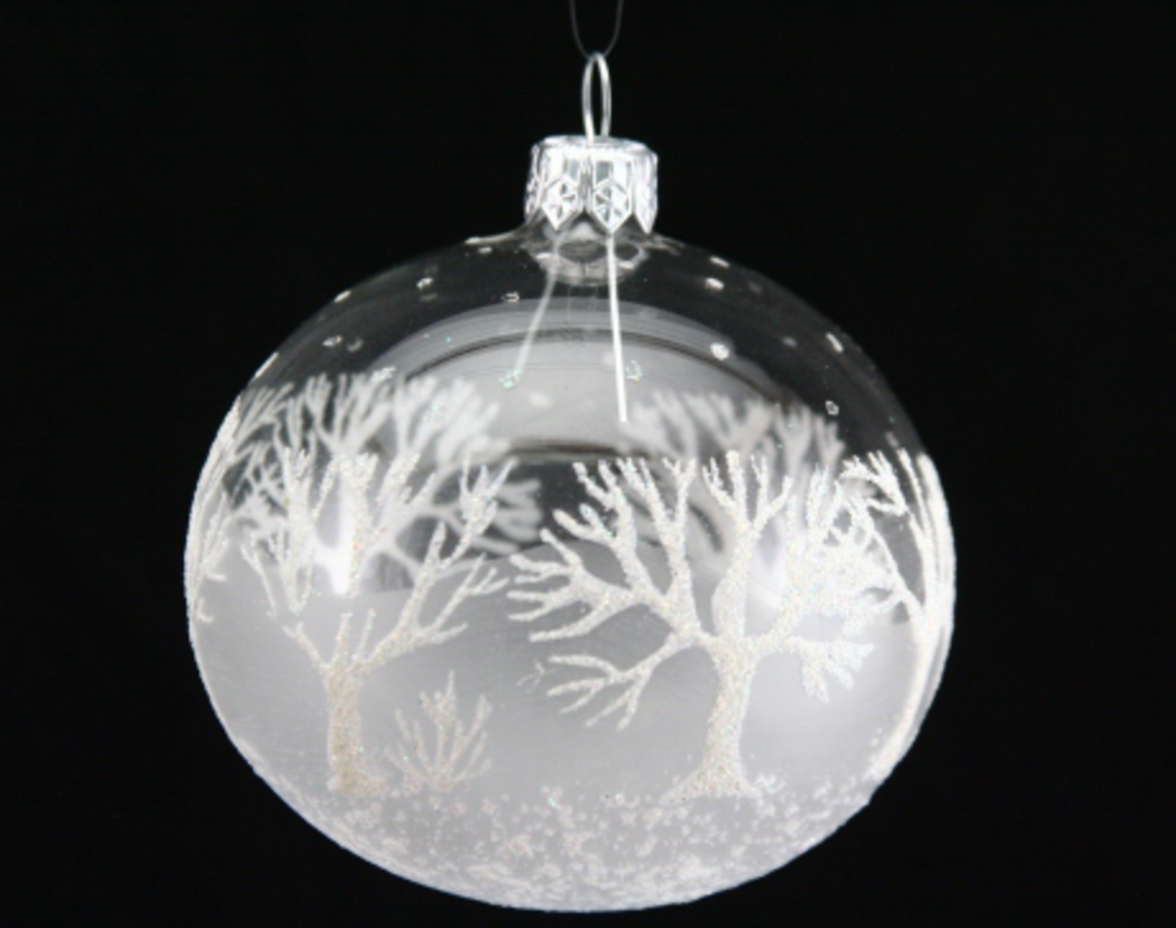 Glass Ball Clear, Frost, White Glitter Trees image 0