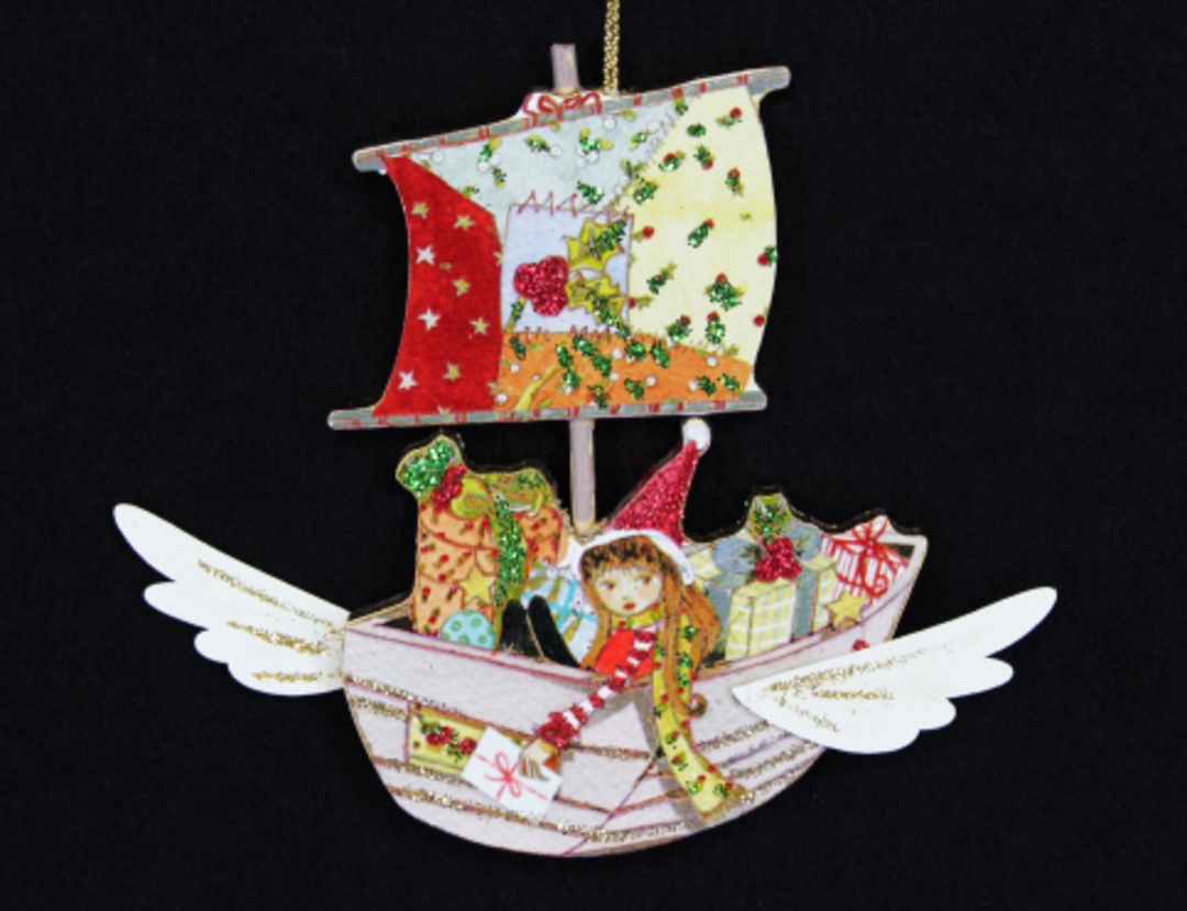 Wood Flying Boat with Toys image 0