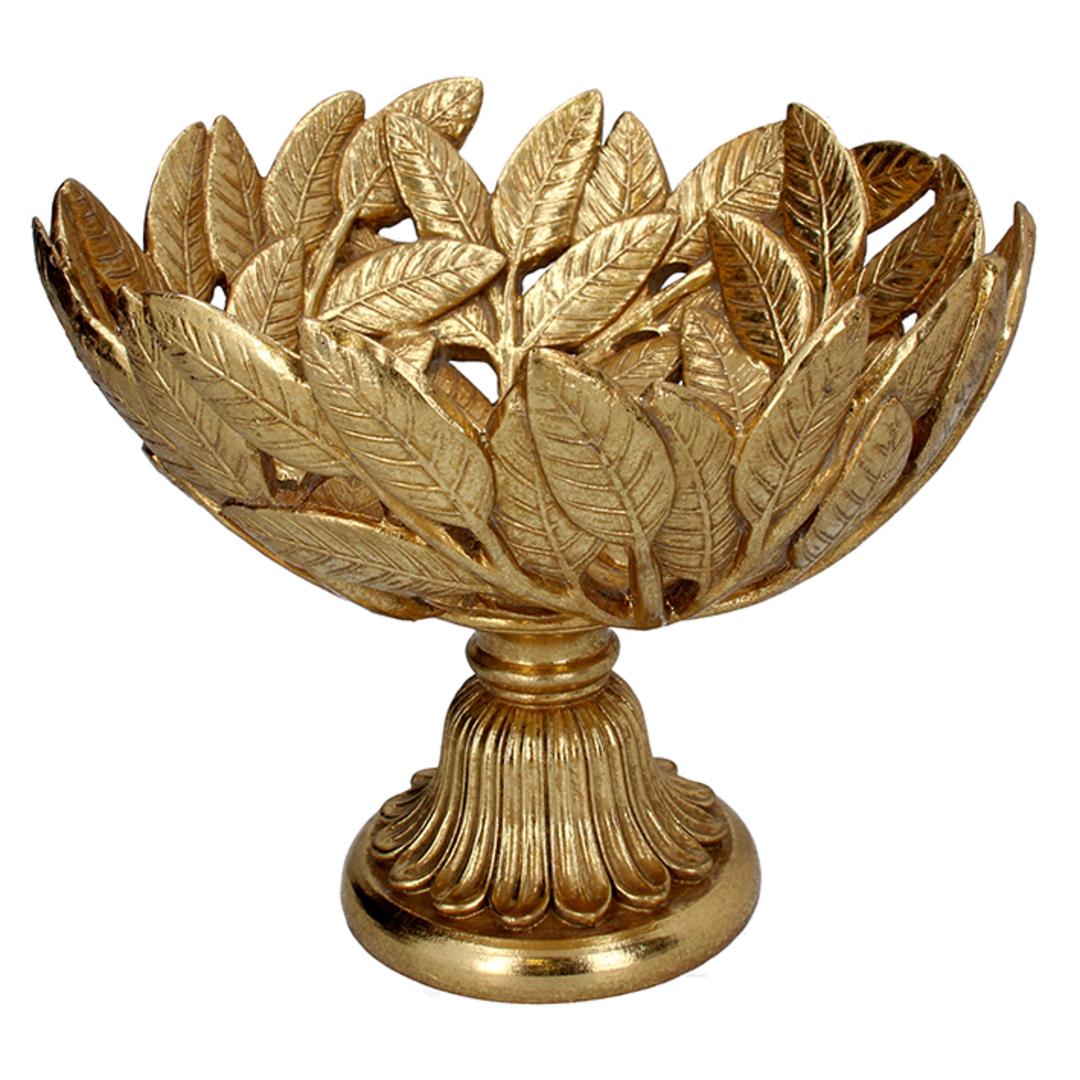 Resin Gold Leaf Footed Bowl 24cm image 0