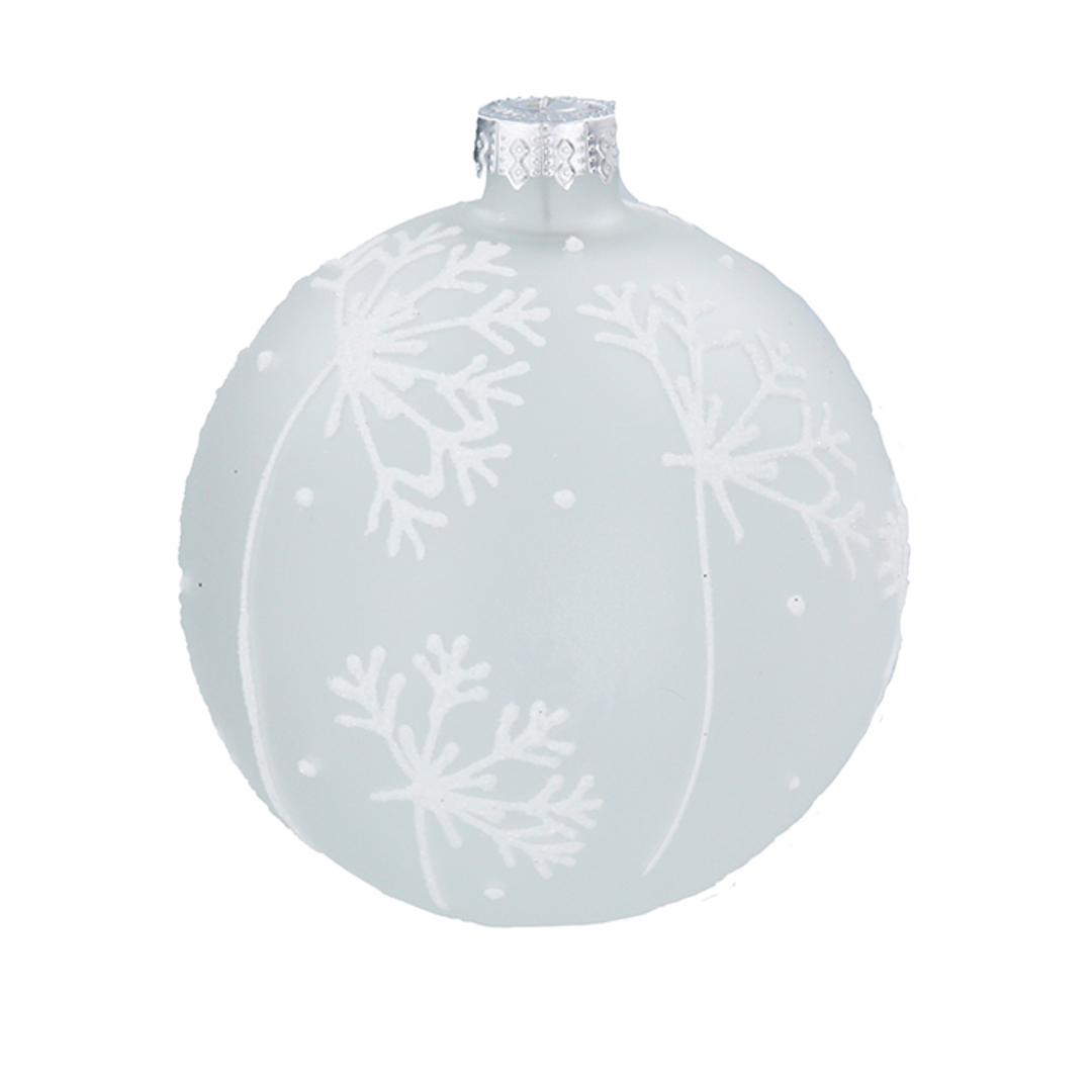 Glass Ball White, Snowflake 8cm image 0