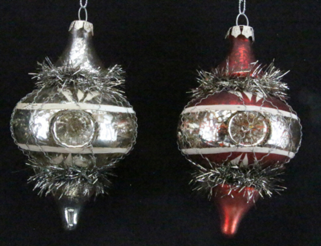 Glass Ogee Antique with Tinsel 13cm image 0
