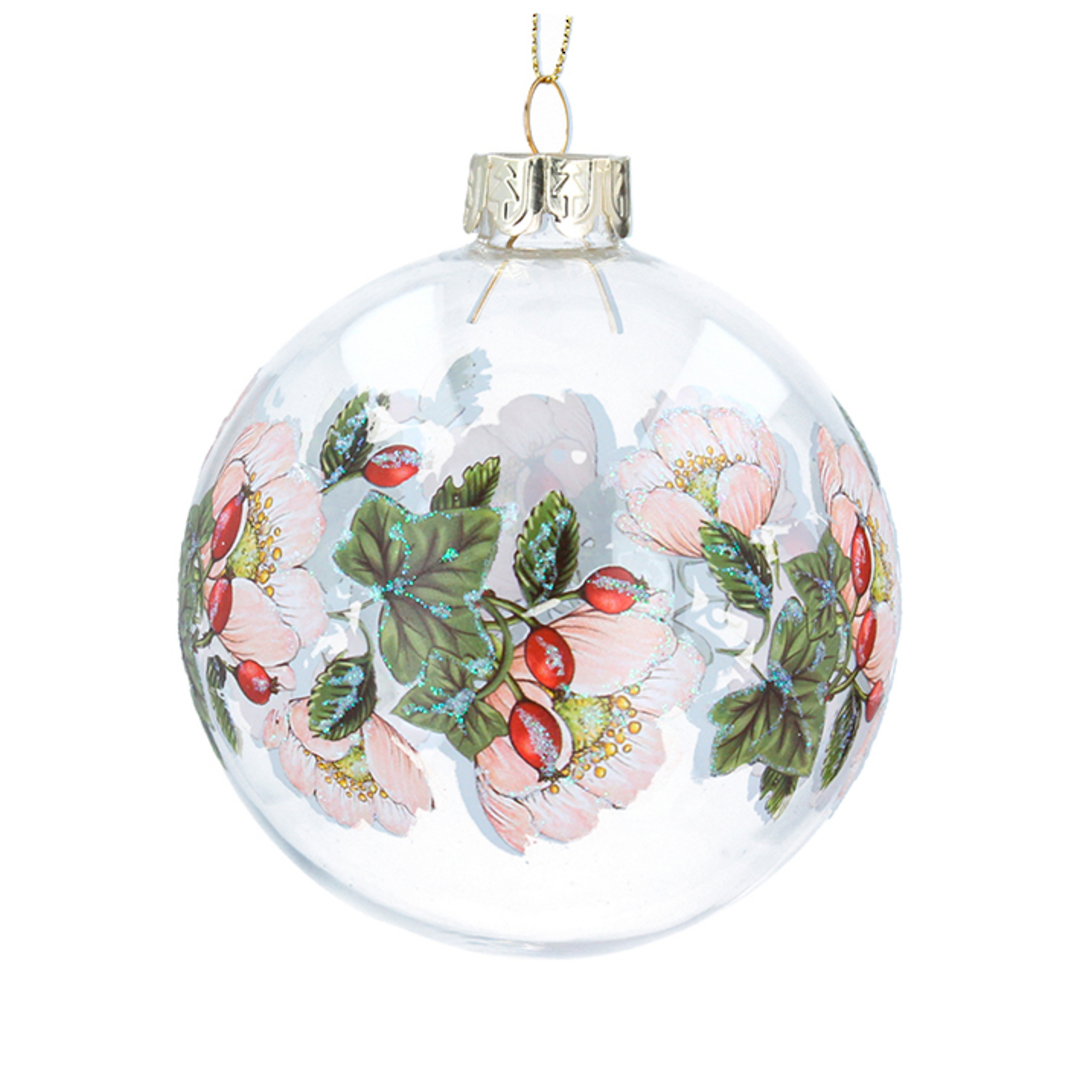 Glass Ball Clear, Xmas Rosehip Band 8cm image 0