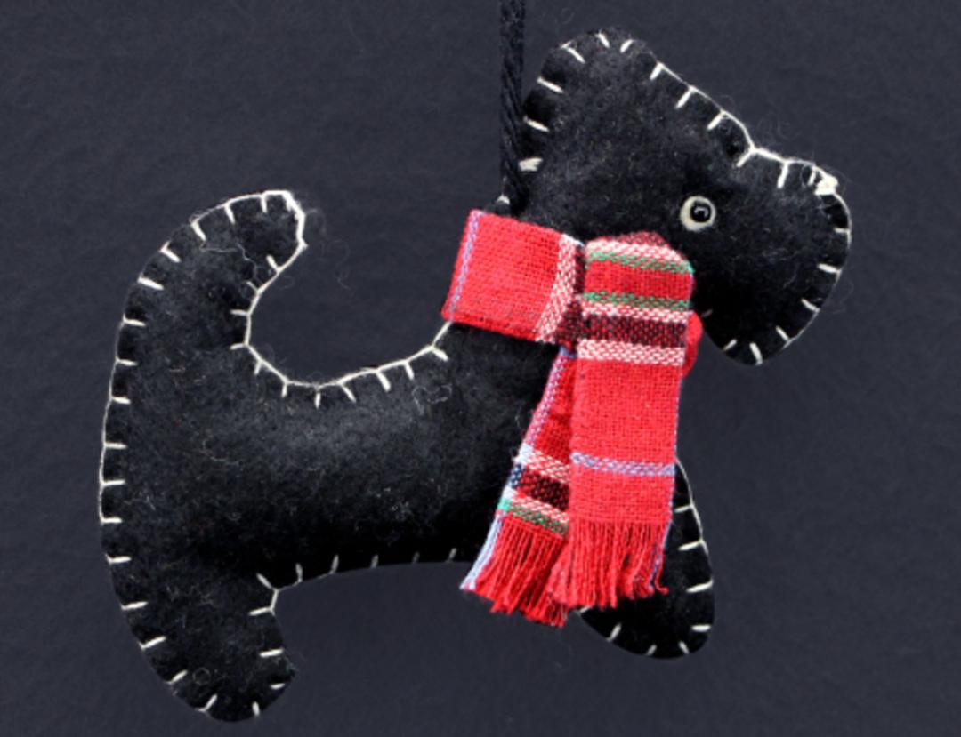 Felt Stitched Black Scottie Dog 10cm image 0