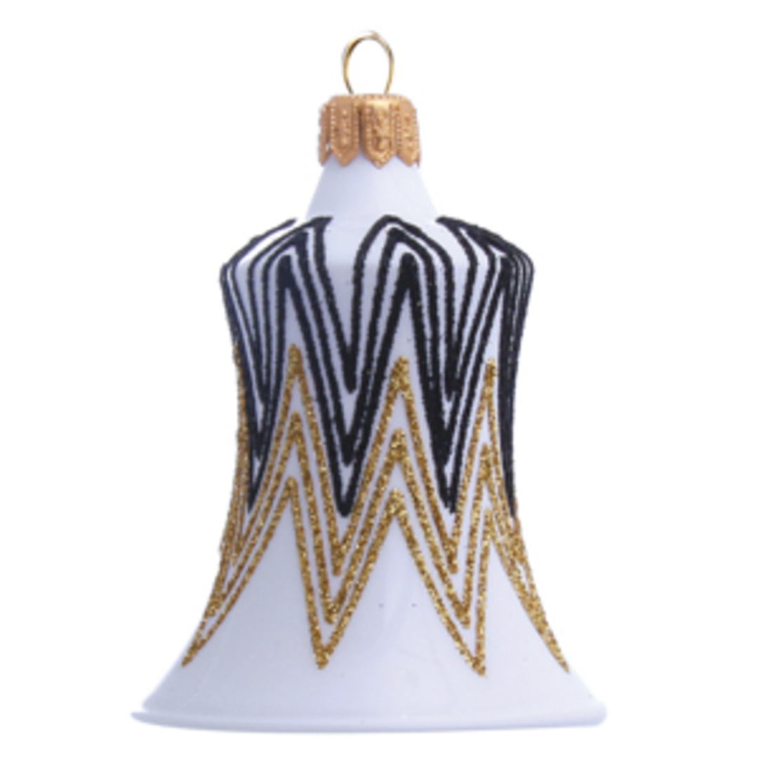 Glass Bell White, Black and Gold Decor 8cm image 0