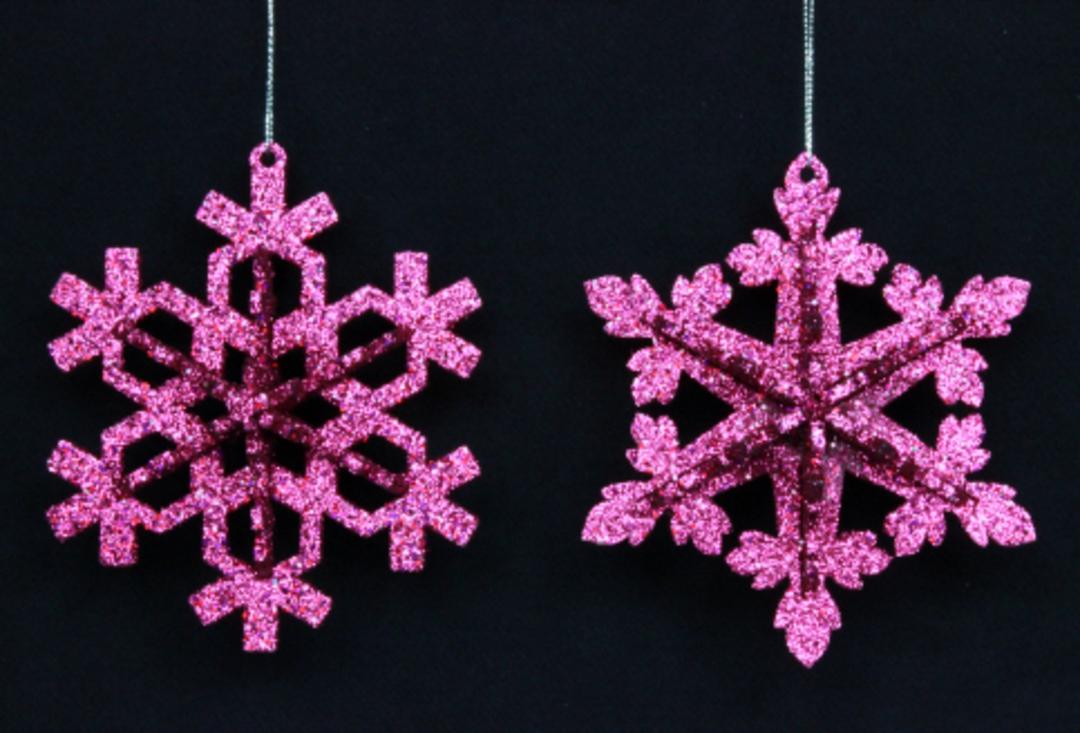 Glitter Fushia Pink Snowflake 12cm image 0