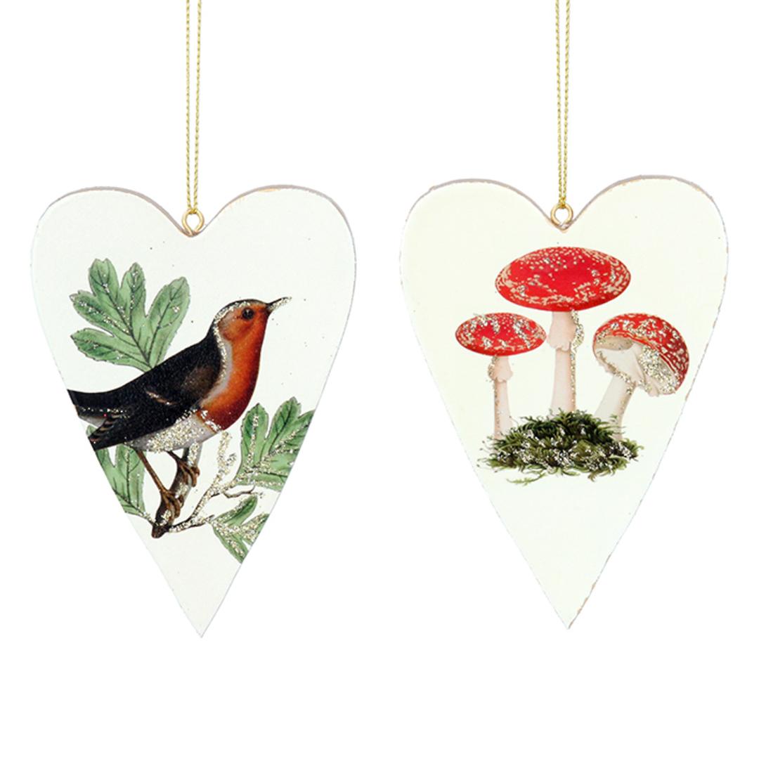 Wood Robin/Toadstool Heart 10cm image 0