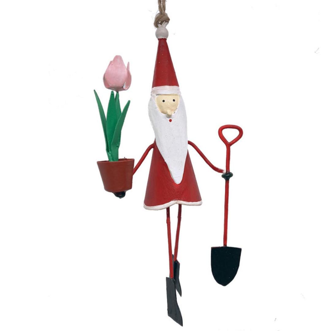 Tin Santa Gardening 11cm image 0