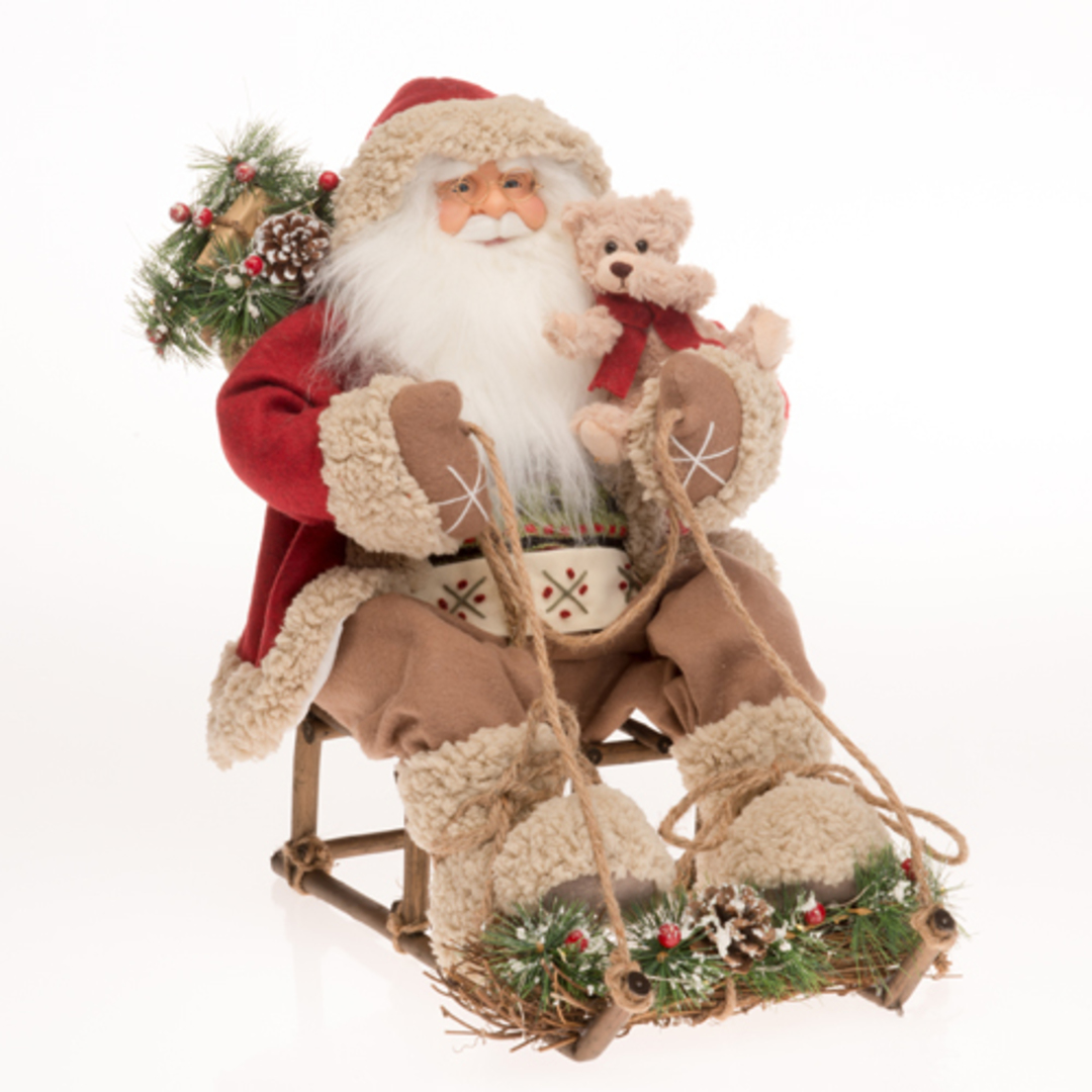 Santa on Sleigh, Red Coat image 0