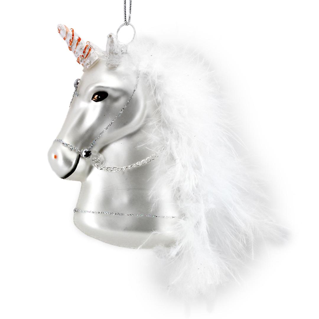 Glass Unicorn Head, Painted 9x8cm image 0