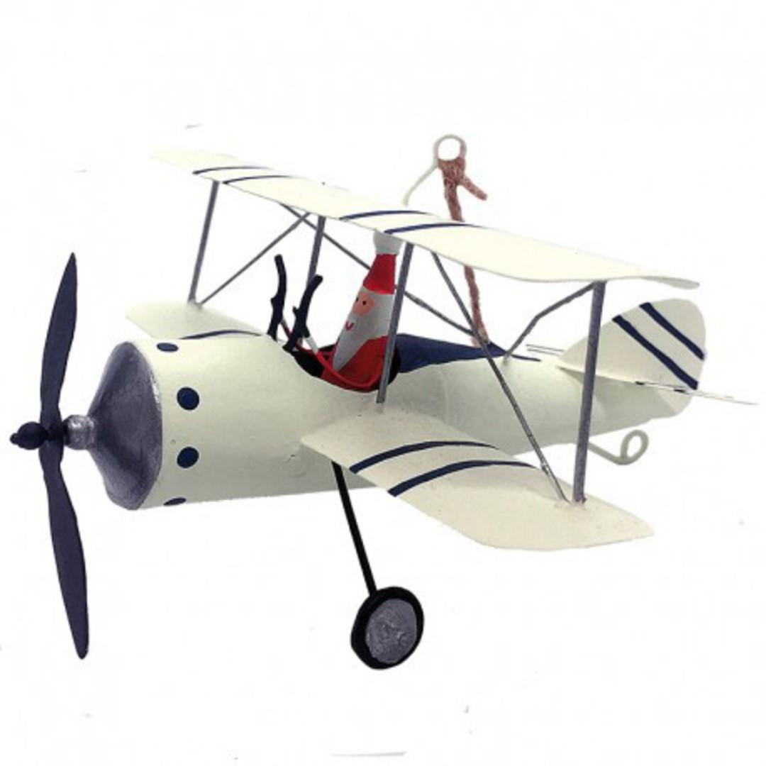 Tin Santa in White Bi-Wing Plane 14cm image 0