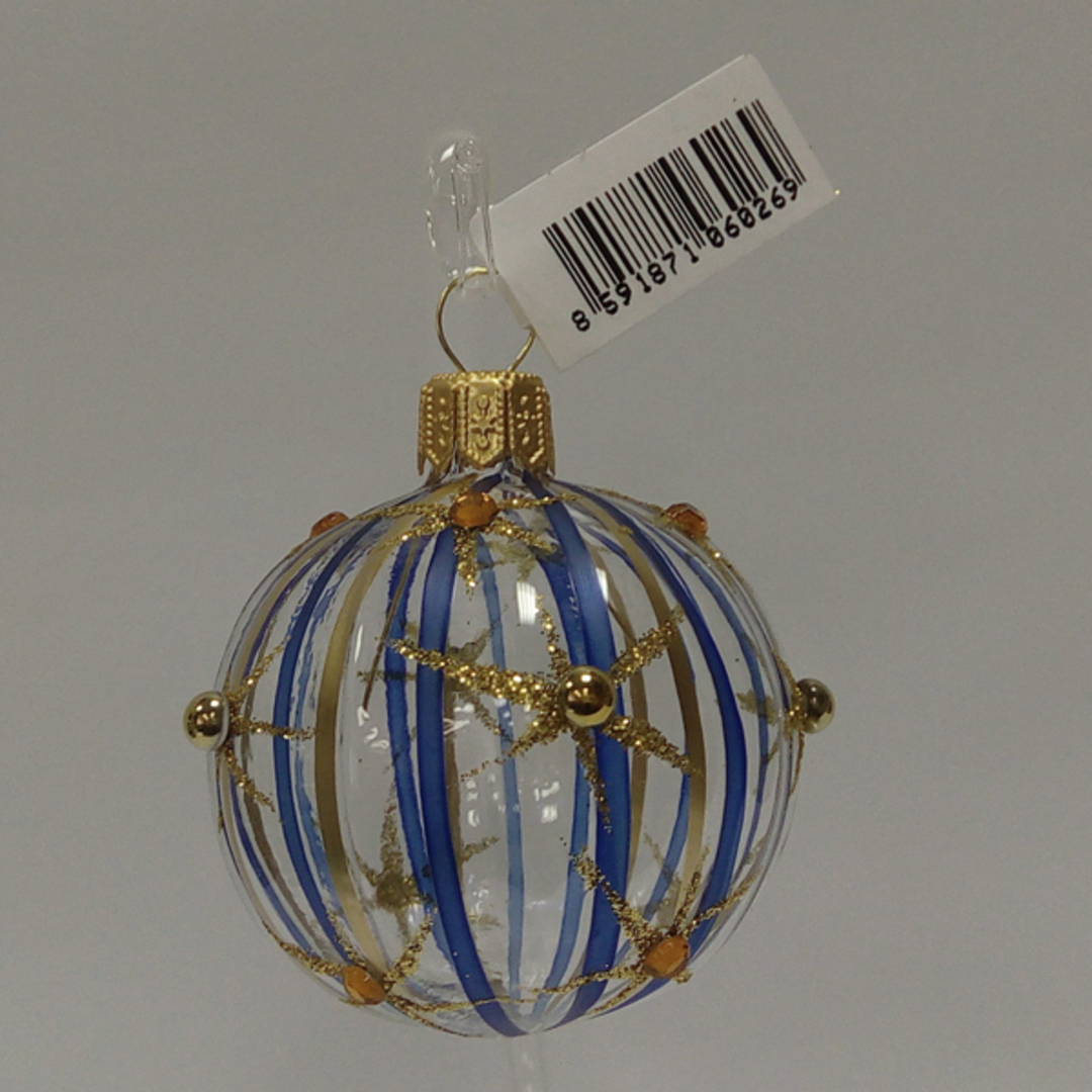 Glass Ball Clear, Blue and Gold Stripes and Stars 5cm image 0