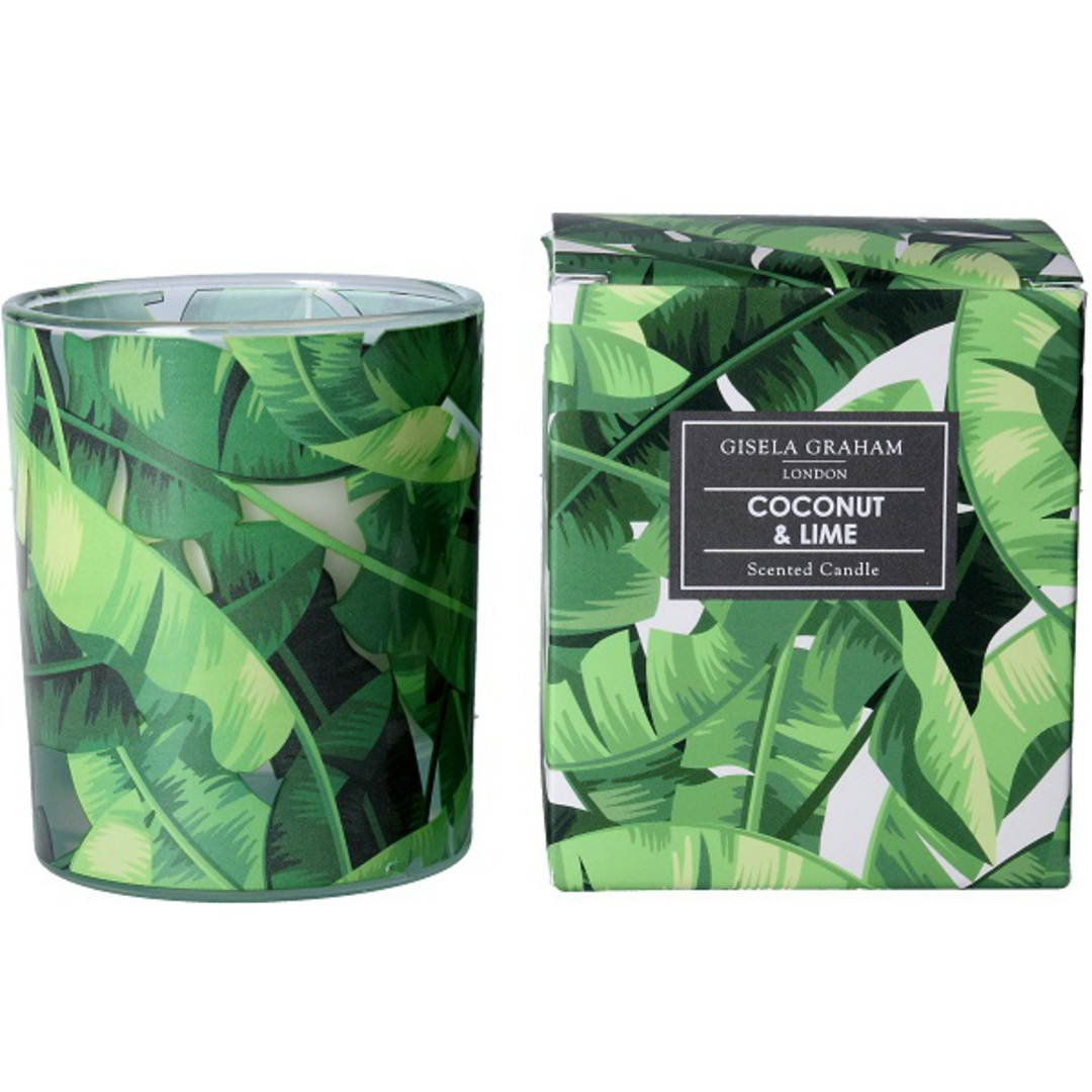 Banana Leaves Design Scented Candle Jar image 0