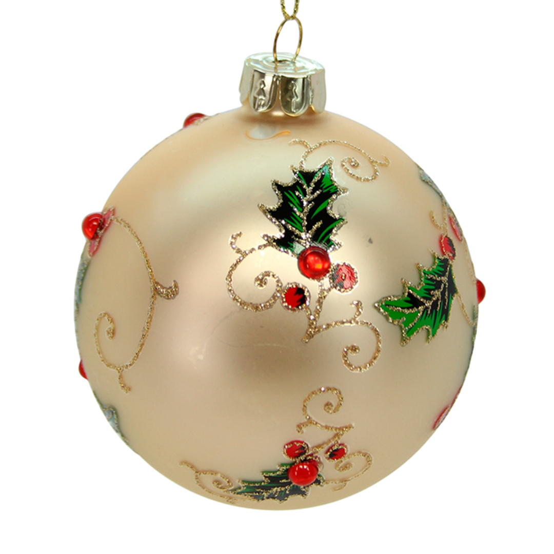 Glass Ball Gold, Holly with Red Gems 8cm image 0