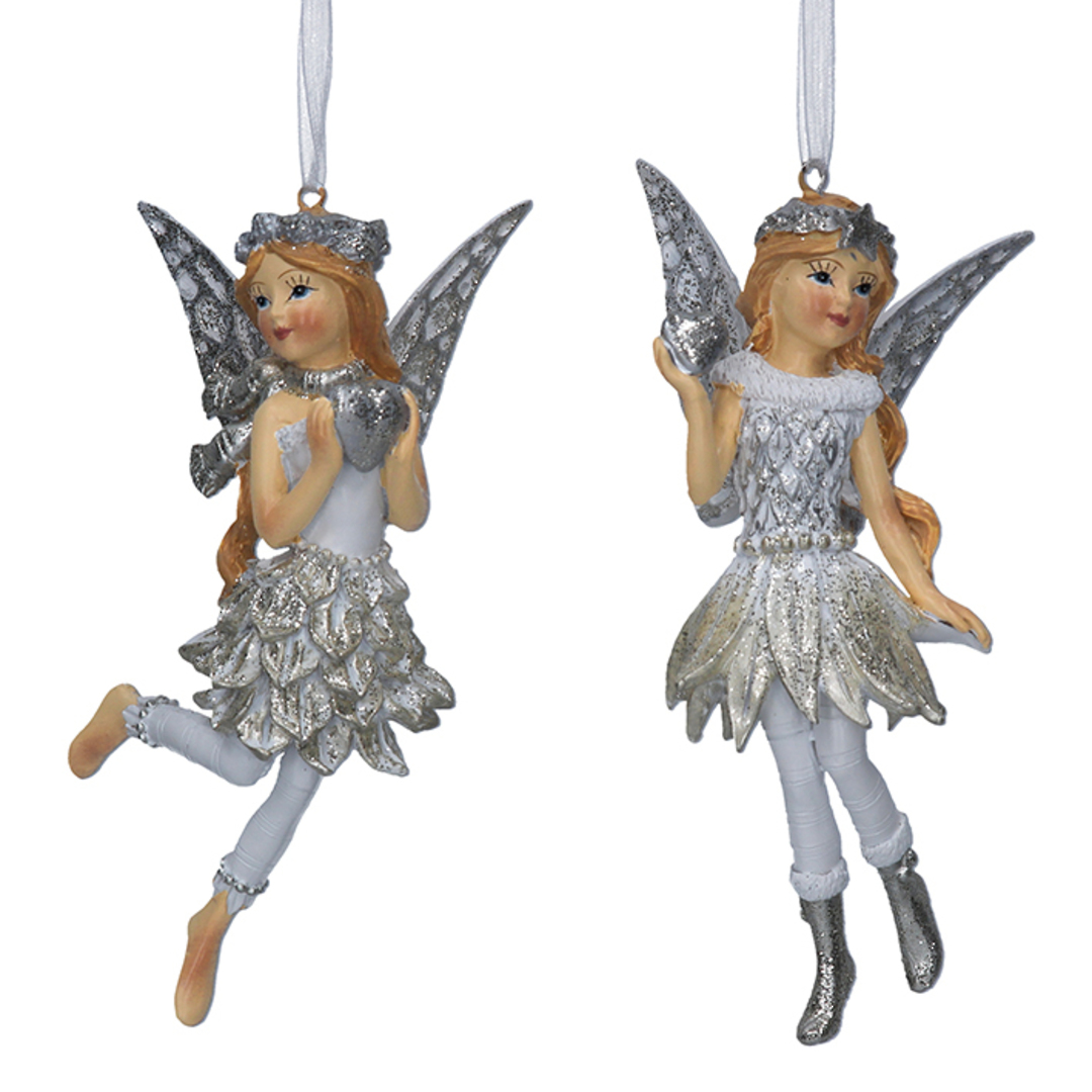 Resin White Silver Fairy Child 12cm image 0