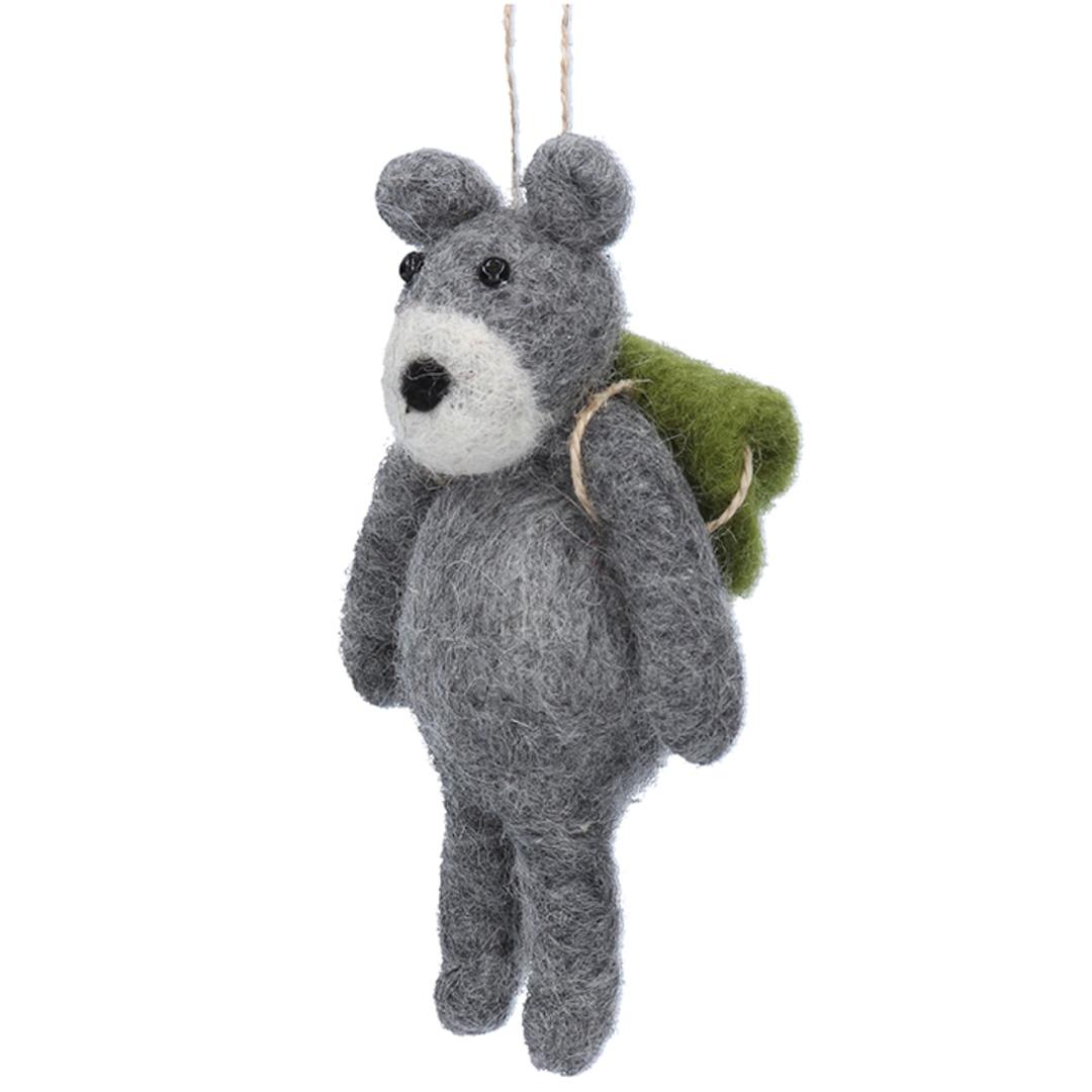 EcoWool Grey School Bear 17cm image 0