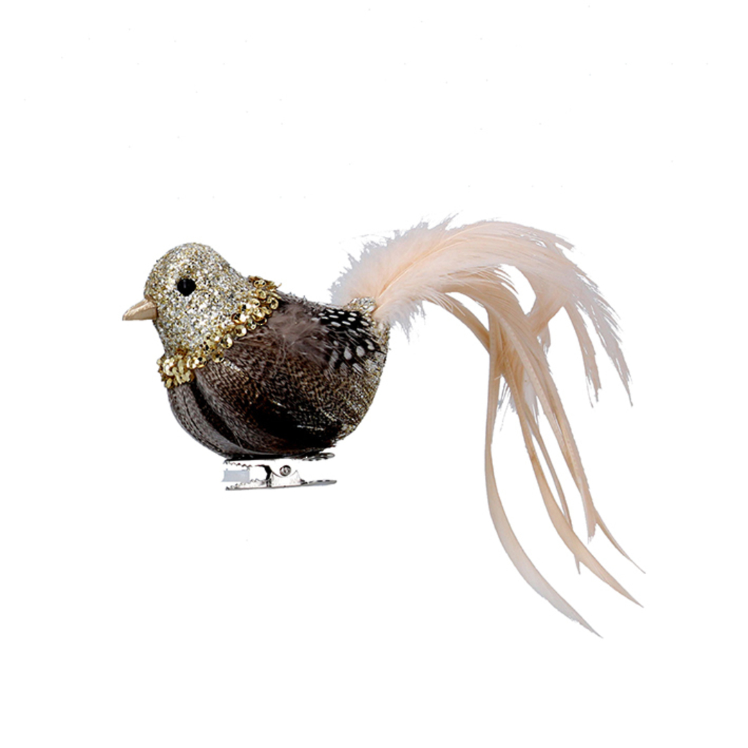 Bird Clip Cream and Natural, Feather Tail 16cm image 0