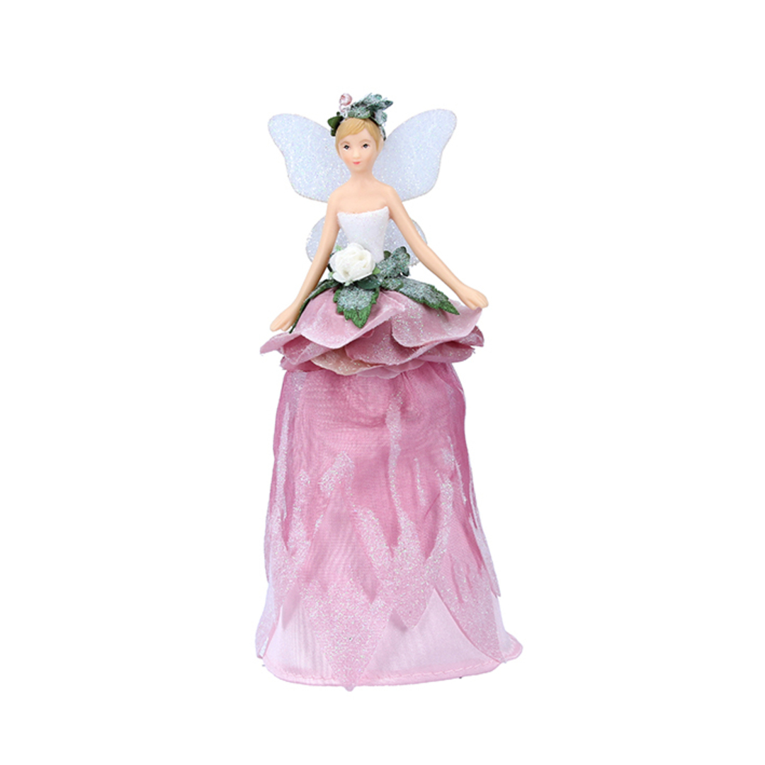 Mini Resin Fabric Flower Fairy Tree Topper 18cm image 0