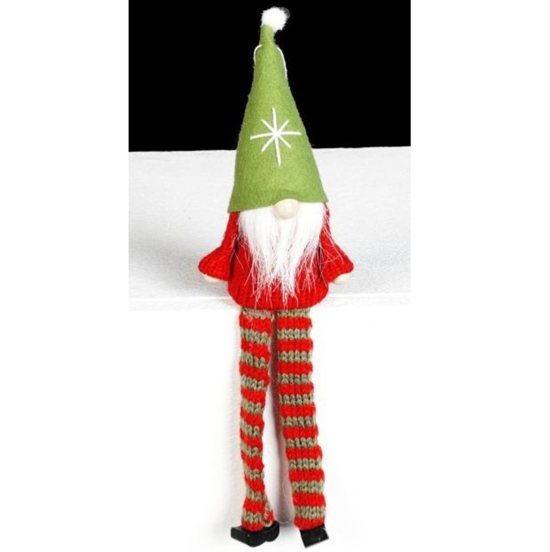 Santa Red Knit Jumper, Green Hat image 0
